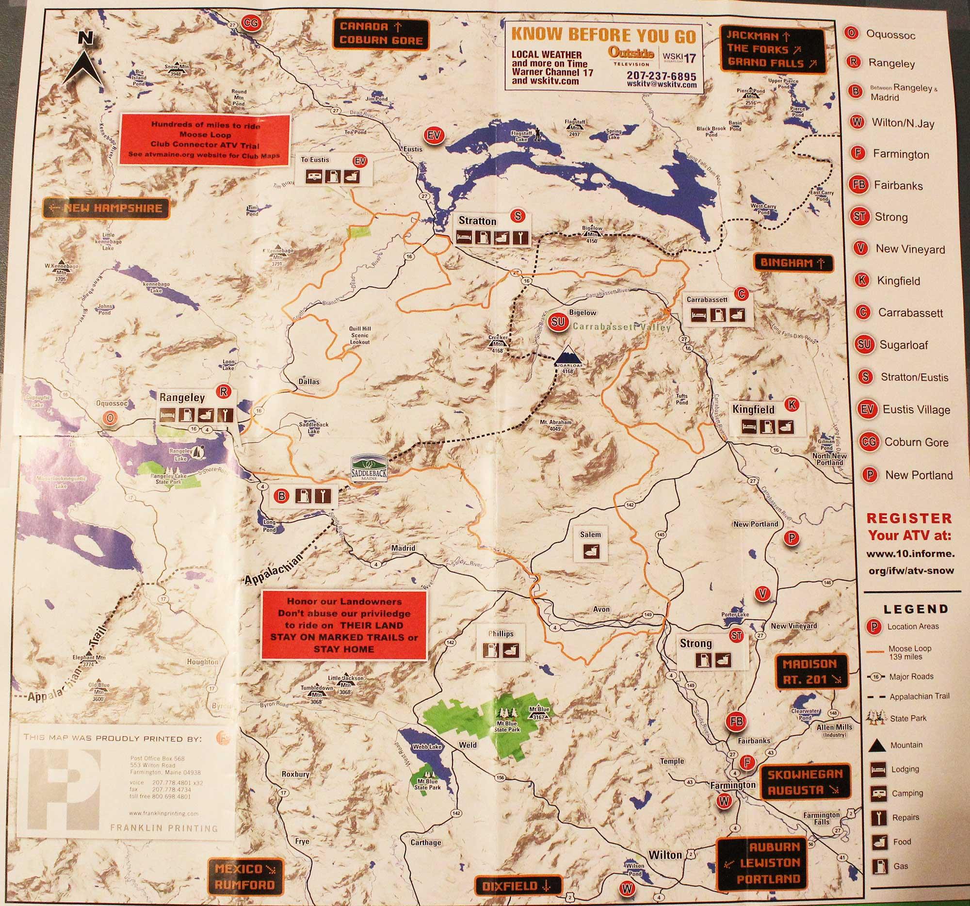 Maps Trails Kingfield Maine Quad Runners Atv Club